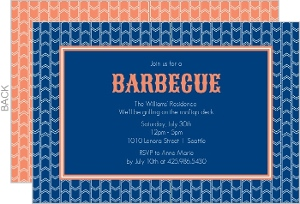 Blue and Orange Pattern Barbecue Invite