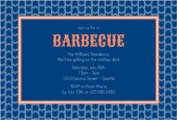 blue and orange pattern barbecue invite bbq invitations