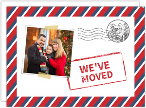 Red and Blue Postal Delivery Moving Announcement