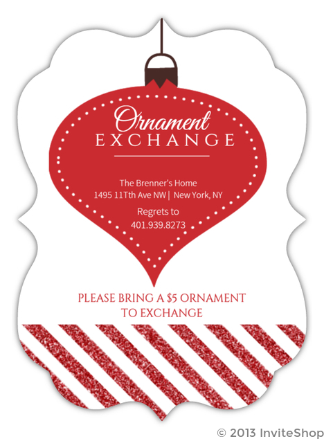 festive ornament exchange holiday party invitation holiday invitations