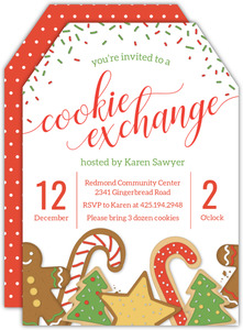 Red and Green Sprinkles Cookie Swap Holiday Party Invitation