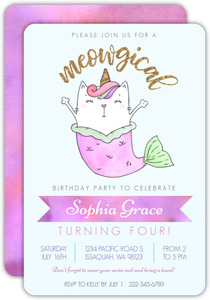 Meowgical Cat Mermaid Kids Birthday Invitation