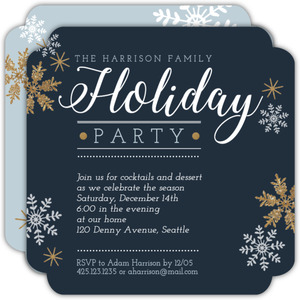 Modern Snowflakes Holiday Party Invitation