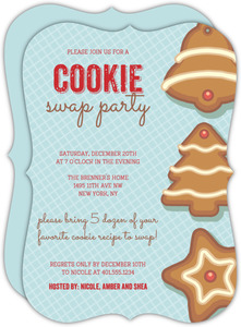 Blue Cookie Swap Holiday Party Invitation