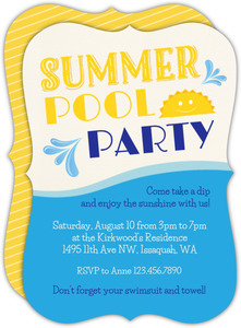 Sunny Summer Pool Party Invitation