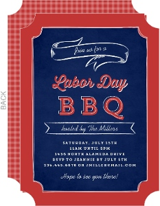 Blue Chalkboard Banner Labor Day Party Invitation