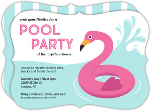 Cute Flamingo Floatie Pool Party Invitation