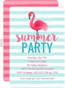 Festive Flamingo Summer Party Invitation