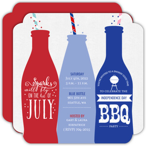 Fun Straw Bottles 4th of July BBQ Party Invitation