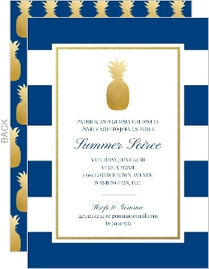 Classic Pineapple Stripes Summer Party Invitation