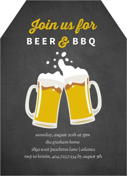 chalkboard beers bbq invitation end of summer party invitations