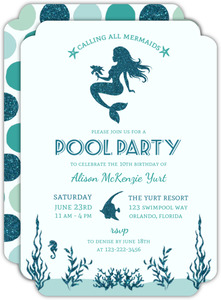 Turquoise Glitter Mermaids Pool Party Invitation