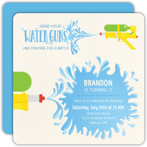Watergun Battle Birthday Pool Party Invitation