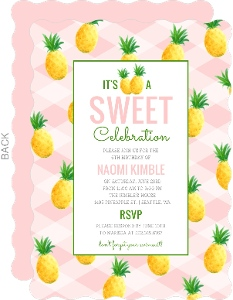 Sweet Pineapple Summer Birthday Party Invitation