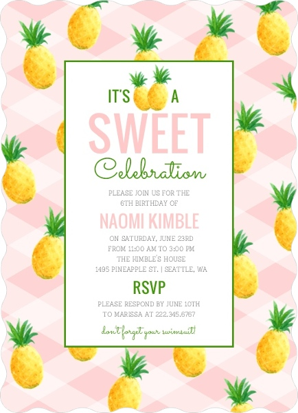 sweet pineapple summer birthday party invitation end of summer