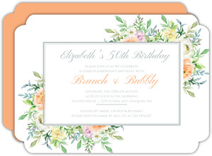 Corner Floral Frame 50th Birthday Invitation
