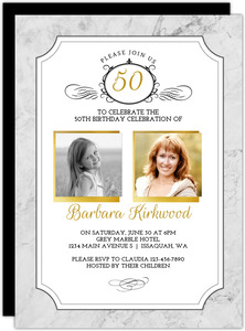Gold Photo Frame Antique 50th Birthday Invitation