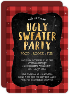 Plaid Ugly Sweater Holiday Party Invitation