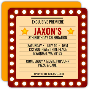 Bright Lights Frame Movie Night Invitation