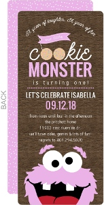 Pink Cookie Monster First Birthday Invitation
