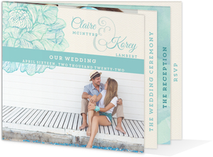 Elegant Watercolor Floral Wedding Booklet Invitation