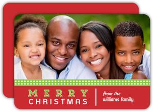 Green and Red Gingham Christmas Photo Card