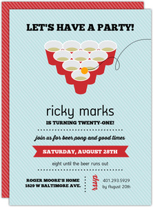 Red Solo Cup Beer Pong Birthday Invitation