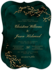 Beautiful Emerald Watercolor Wedding Invitation