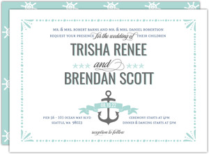 Whimsical Nautical Anchor Wedding Invitation