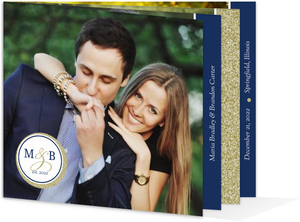 Faux Elegant Gold Glitter Booklet Wedding Invitation