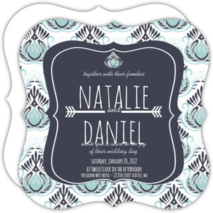 Rustic Blues Wedding Invitation
