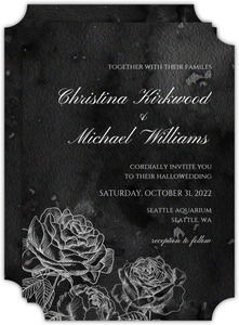 Black Watercolor Roses Wedding Invitation
