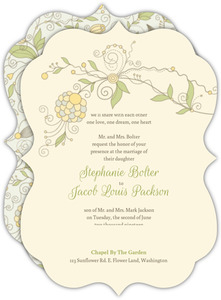 Yellow Floral Pattern Wedding Invitation