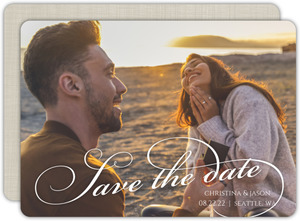 Elegant Engaged Script Save The Date