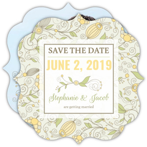 Yellow Floral Pattern Save The Date Announcement