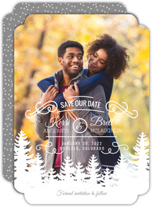 Winter Tree Line Save The Date Announcement