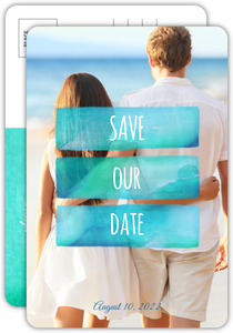 Beachy Watercolor Save The Date Announcement