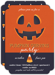 Grinning Candy Corn Pumpkin Carving Party Invitation