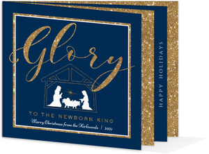 Faux Glitter & Blue Holiday Photo Booklet