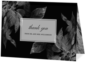 Dark Leaves Modern Thank You Card