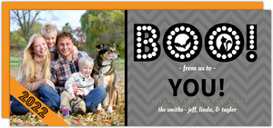 Chevron Gray Spooky Boo Halloween Card