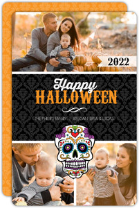 Decorative Skull Black Damask Halloween Card