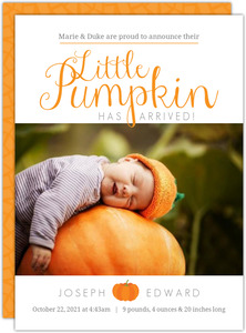 Orange Little Pumpkin Arrival Birth Announcement