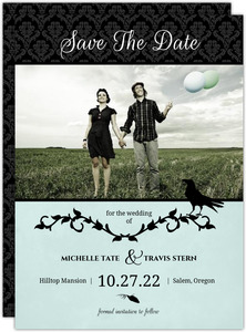 Blue Black Damask Vines Halloween Save The Date Announcement