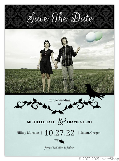 Blue Black Damask Vines Halloween Save The Date Announcement Save
