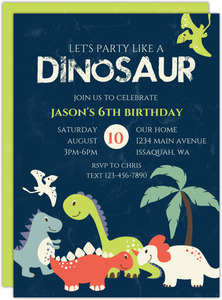 Dinosaur Friends Birthday Invitation