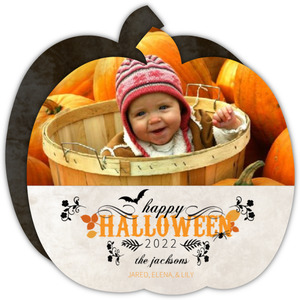 Rustic Autumn Leaves Halloween Photo Card