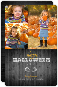 Orange Gray Wood Halloween Photo Card