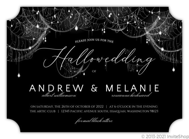 Elegant Spider Web Sparkles Halloween Wedding Invitation  Wedding