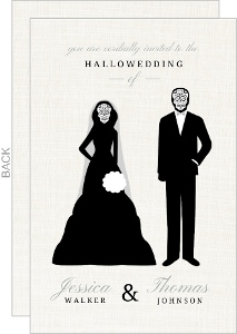 Skeleton Couple Cream Halloween Wedding Invitation